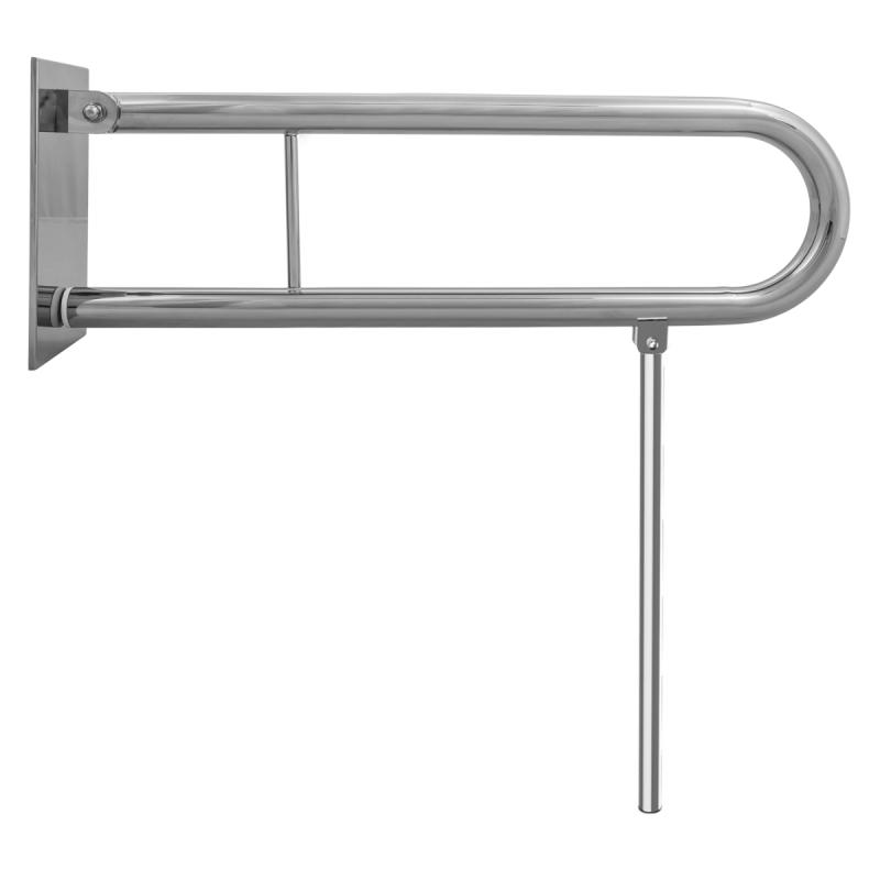 WC Klappgriff für barrierefreies Bad mit Stützbein 75 cm aus rostfreiem Edelstahl ⌀ 32 mit Abdeckplatten