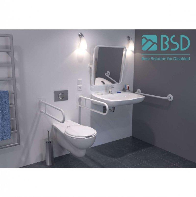 Handlauf für Badewanne für barrierefreies Bad 120/70 cm weiß ⌀ 32 mm mit Abdeckrosetten