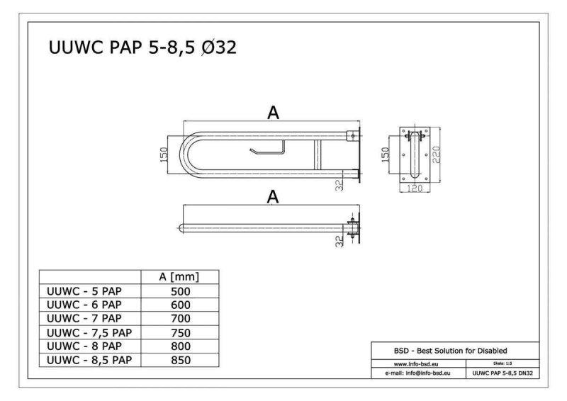 WC Klappgriff für barrierefreies Bad mit Toilettenpapierhalter aus rostfreiem Edelstahl 60 cm ⌀ 32 mm