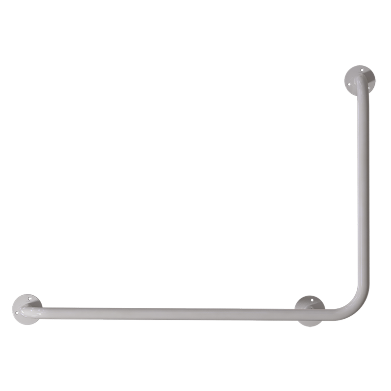 Winkelgriff 100/60 cm für barrierefreies Bad links montierbar weiß ⌀ 25 mm