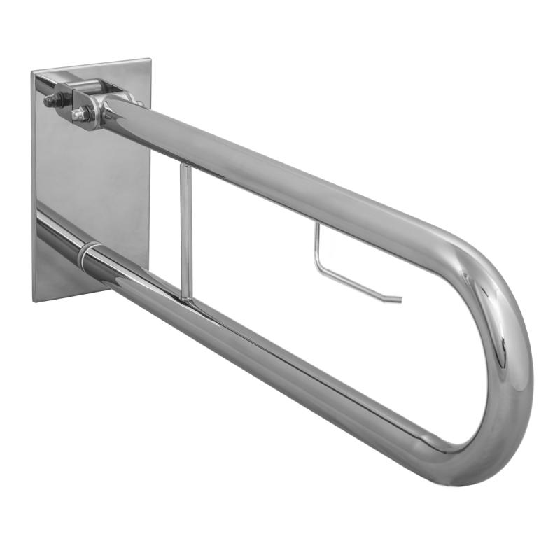 WC-Klappgriff für barrierefreies Bad mit Toilettenpapierhalter aus rostfreiem Edelstahl 75 cm ⌀ 32 mit Abdeckplatten