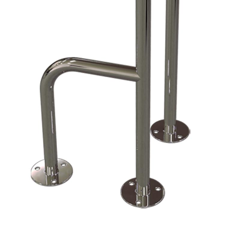 WC - Stützgriff für barrierefreies Bad zur Bodenmontage rechts 80 cm hoch aus rostfreiem Edelstahl ⌀ 25 mm