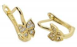Kolczyki złote 585 motylki z cyrkoniami