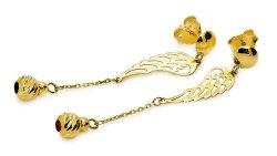 Złote kolczyki 585 skrzydełka