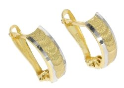 Kolczyki złote 585 diamentowane rodowane etui i dedykacja gratis