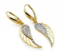 Złote kolczyki 585 skrzydełka z cyrkoniami