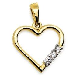 Złota zawieszka serce z cyrkoniami