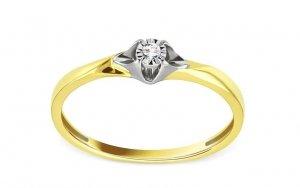 Dwukolorowy złoty pierścionek zaręczynowy 585 z brylantem 0,02ct