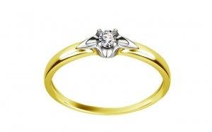 Pierścionek zaręczynowy białe i żółte złoto 585 brylant 0,01ct