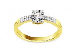 Złoty pierścionek zaręczynowy 585 duży brylant 0,15ct