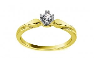 Dwukolorowy pierścionek zaręczynowy białe i żółte złoto 585 brylant 0,01ct