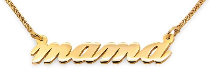 Złoty napis mama, złoty naszyjnik mama