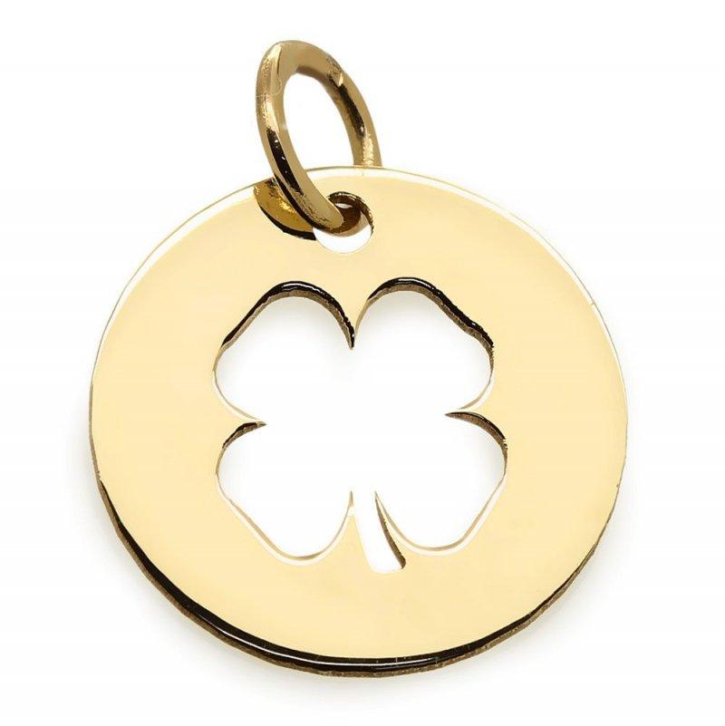 Złota zawieszka 585 czterolistna koniczynka