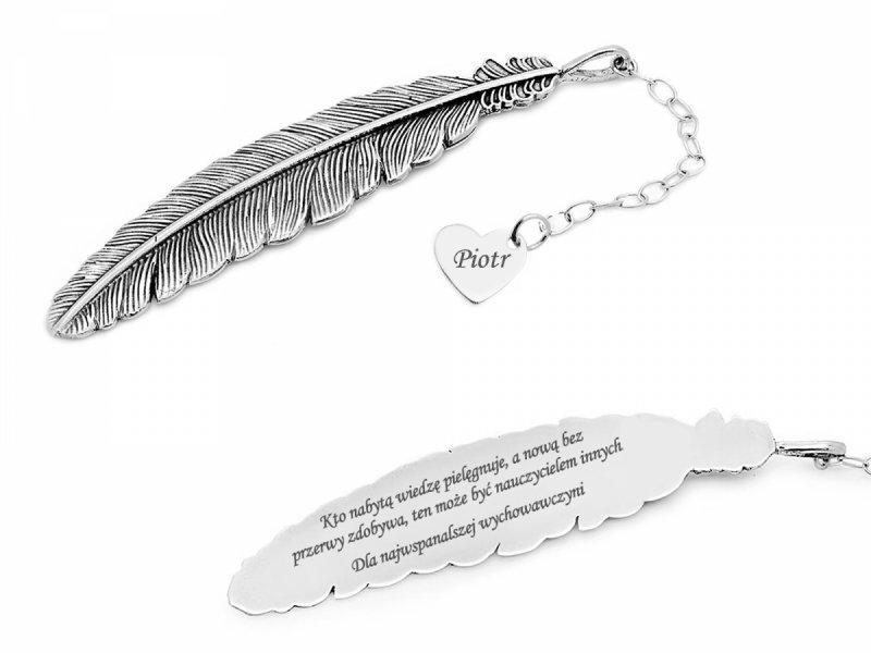 Zakładka do książki srebrna grawer na prezent | Piórko z zawieszką serce