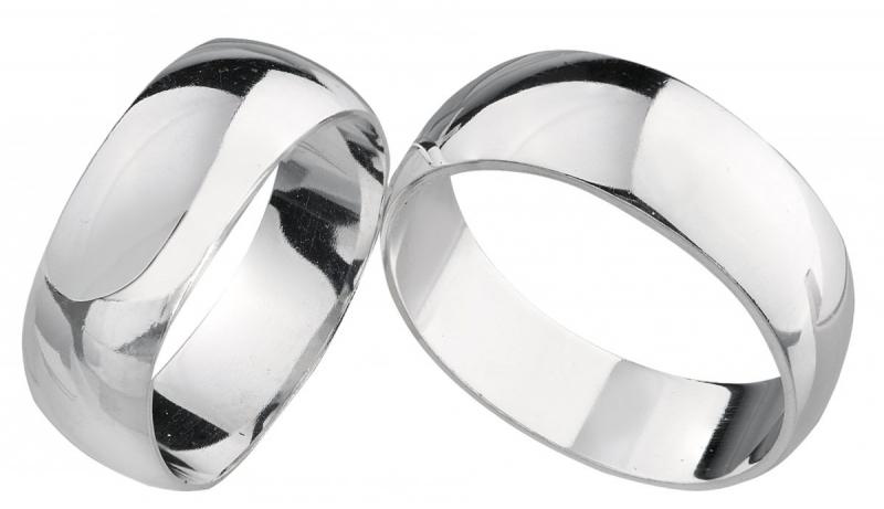 Srebrne obrączki półokrągłe 8 mm GRAWER gratis klasyczne ślubne