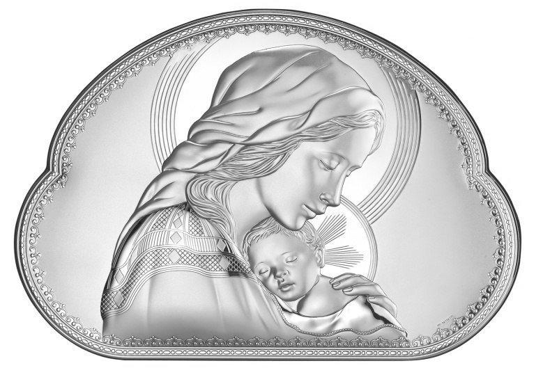 Matka Boska srebrny Ryngraf ślub chrzest obrazek