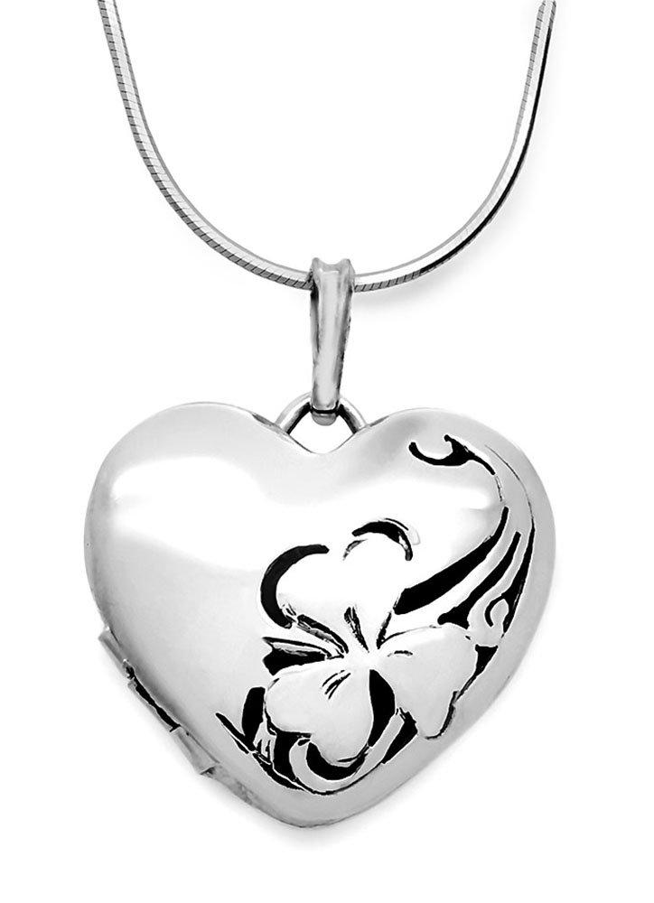 Srebrny naszyjnik sekretnik z grawerem zawieszka 925 serce + łańcuszek + etui