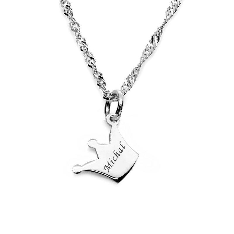 Srebrny naszyjnik KORONA z łańcuszkiem 925 + GRAWER