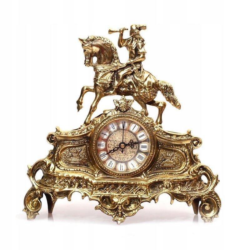 Mosiężny zegar kominkowy stylowy pocztylion