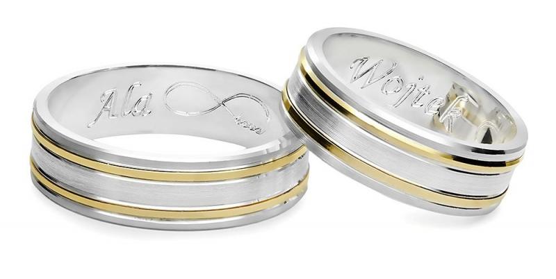 Srebrno-złote obrączki 925 585 ze złotymi paskami