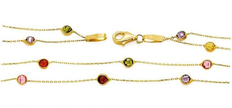 Złota bransoletka 585 z kolorowymi cyrkoniami