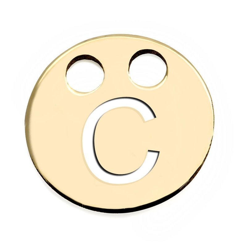 Złota zawieszka 585 kółeczko z literką C do celebrytki