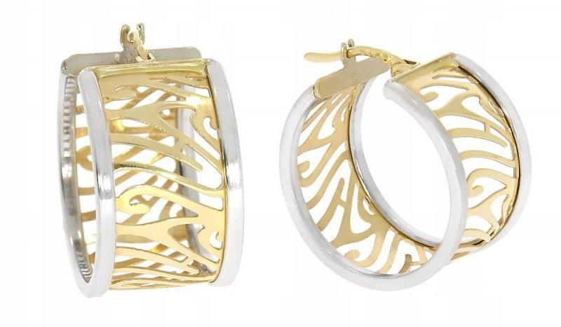 Złote kolczyki 585 z elementami białego złota angielskie zapięcie