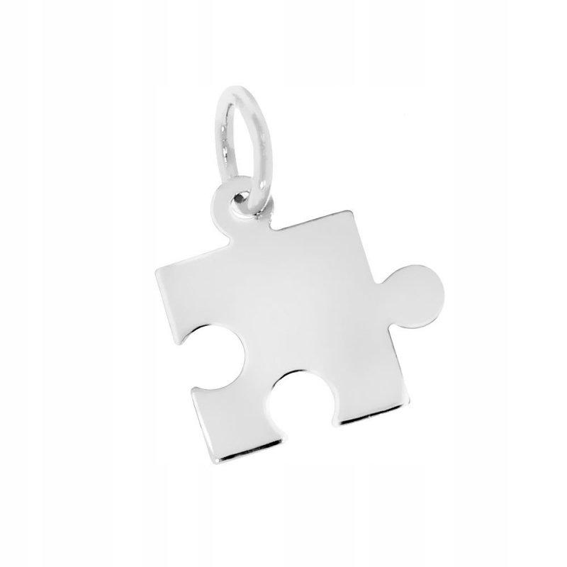 Srebrny puzzel 925 bransoletka na rzemyku