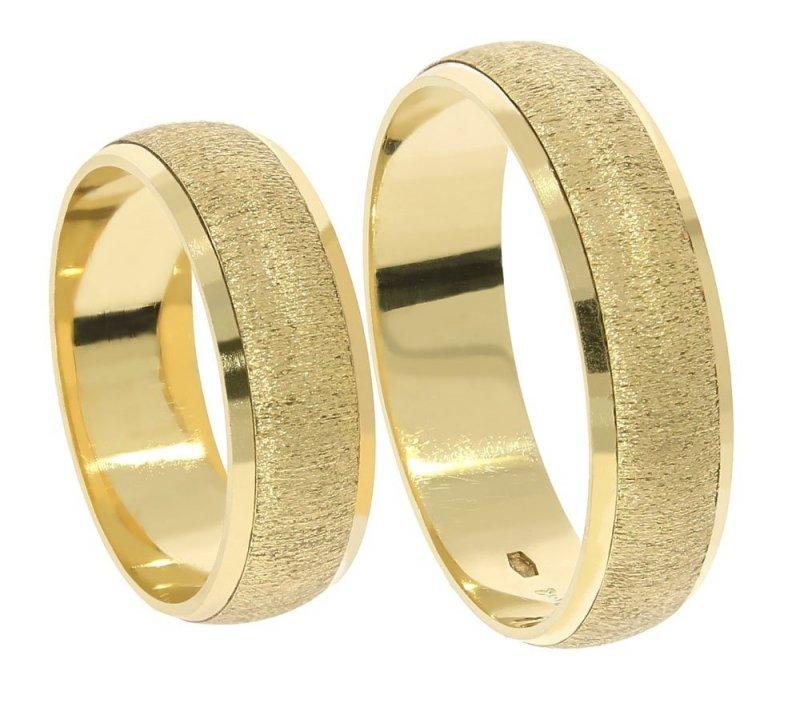 Obrączki ślubne złote 585 półokrągłe matowane 6 mm