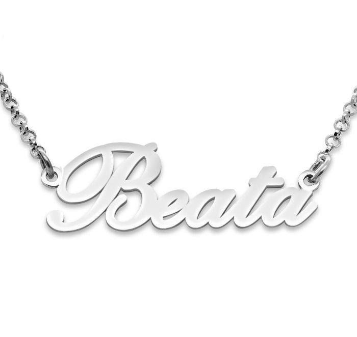 Srebrny napis Beata - naszyjnik z imieniem , srebro 925