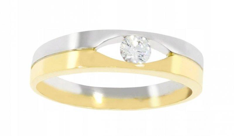 Złoty pierścionek 585 rodowany z cyrkoniami