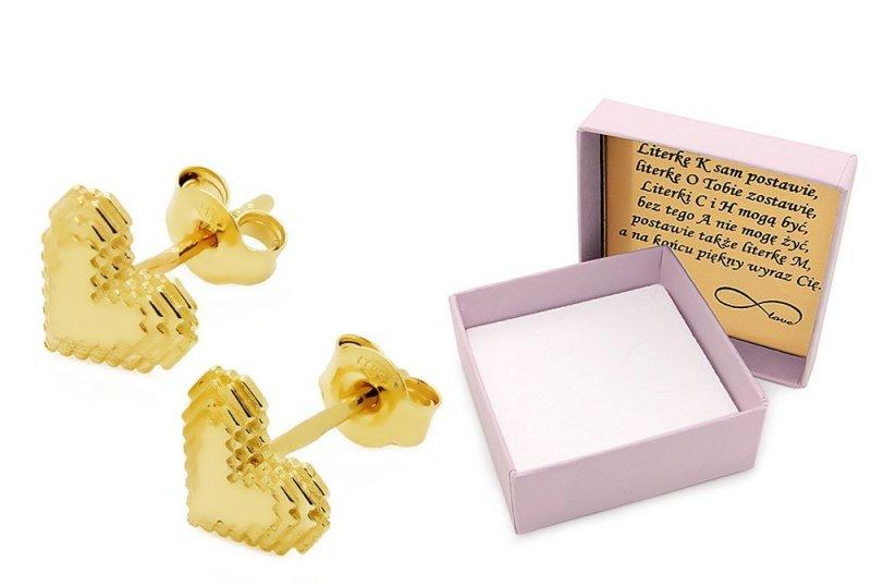 Złote kolczyki 585 serduszka