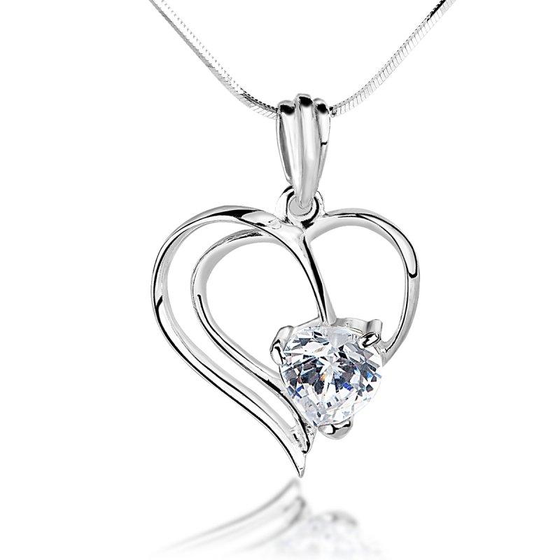 Srebrny naszyjnik serce z cyrkonią SWAROVSKI Elements