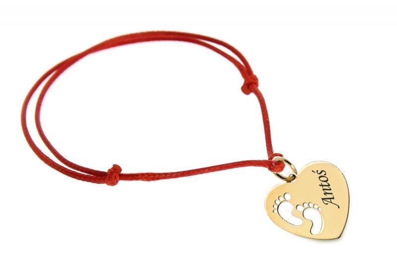 Złota bransoletka SERCE STÓPKI dla MAMY z grawerem +ETUI