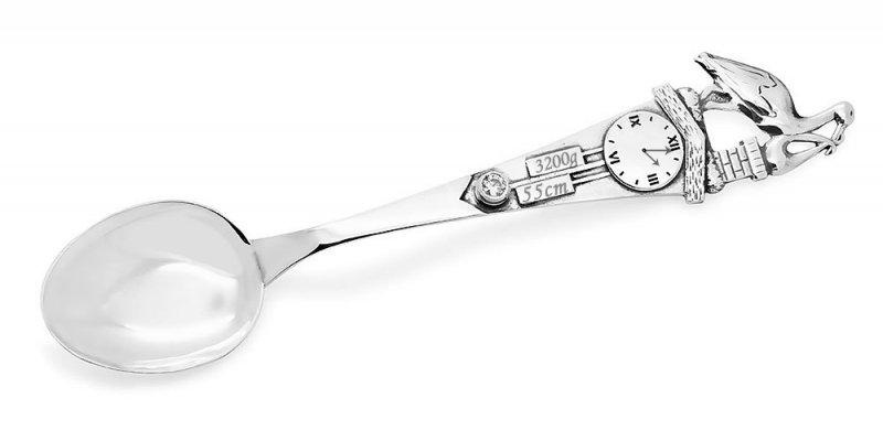 Łyżeczka srebrna z cyrkonią SWAROVSKI Bocian grawer