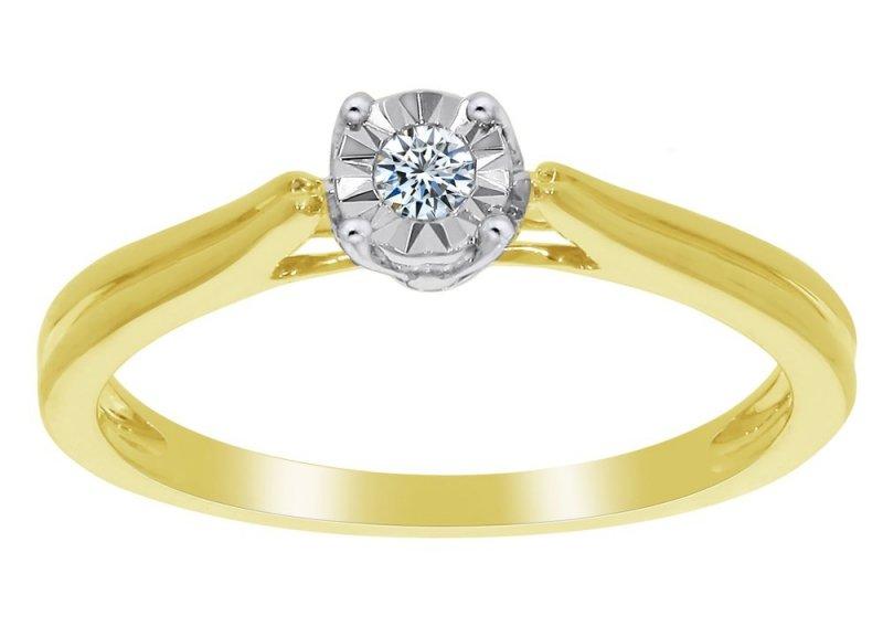Dwukolorowy pierścionek zaręczynowy złoto 585 brylant 0,05ct