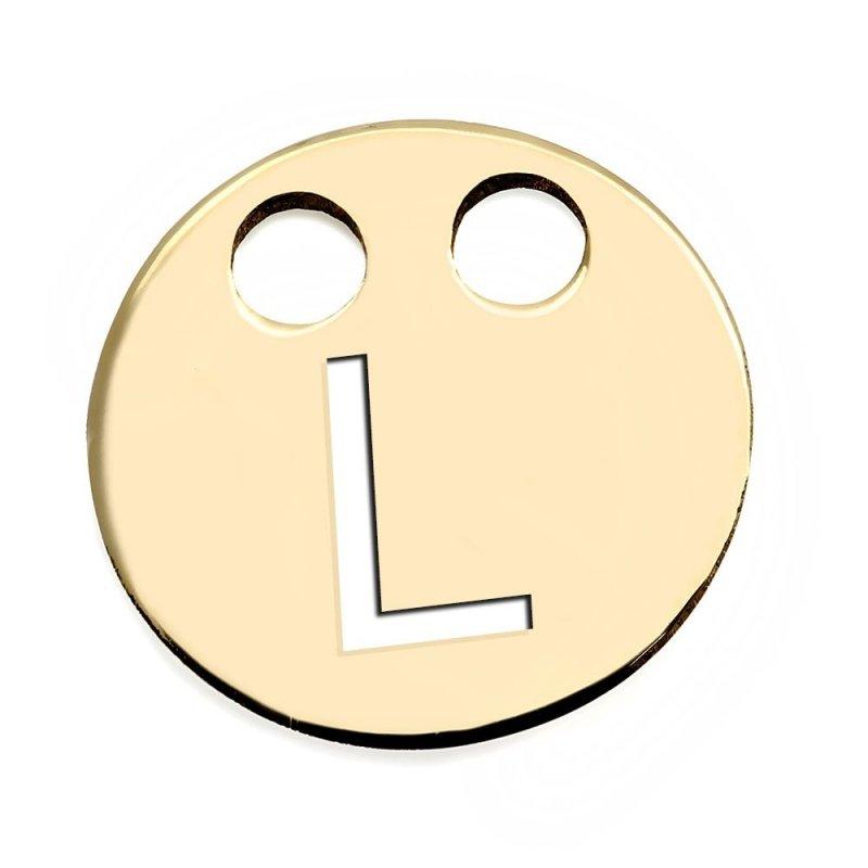 Złota zawieszka 585 kółeczko z literką L do celebrytki