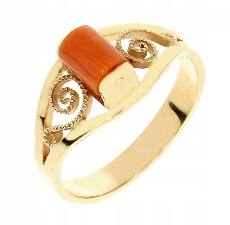 Złoty pierścionek 585 rodowany z koralem