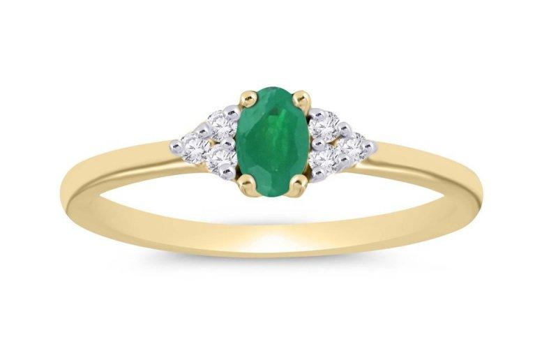 Złoty pierścionek zaręczynowy ze szmaragdem 0,06ct