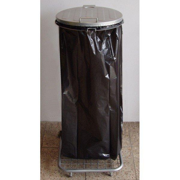 Stojak do worków na śmieci na 4 kołach W1Mpk z pedałem