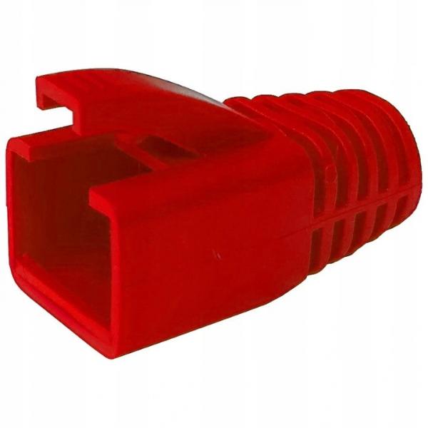 Osłonki wtyku RJ45 czerwone na kabel kat.6, 6A, 7  10szt.