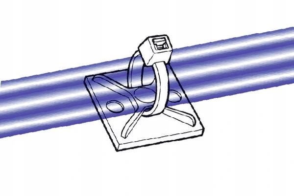 Uchwyt opaski zaciskowej 20x20mm biały 100szt.
