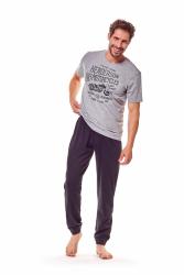 Piżama męska Henderson Force 36204-90X Szaro-czarna