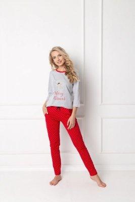 Piżama damska Aruelle Cookie Long Grey-Red