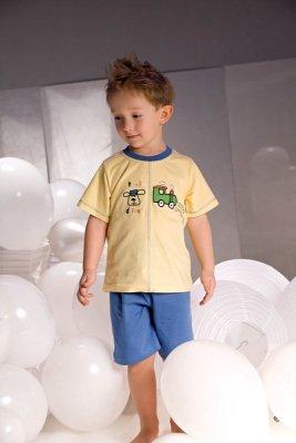 Piżamka chłopięca Piccolo Meva Samuel 2973 żółto-niebieska