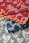 Klippan, pled z ekowełny, 65x90cm, baby heart, szary