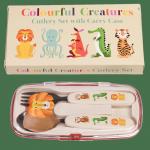 Rex london zestaw sztućców metalowych w etui kolorowe zwierzątka
