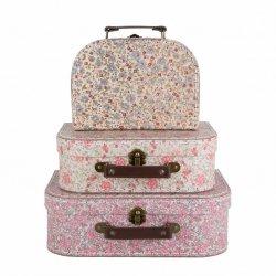 Sassandbell, zestaw 3 walizeczek, vintage floral
