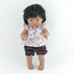bluzeczka + muślinowe spodenki, dla lalki Miniland 38cm