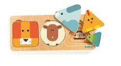 Djeco, drewniane puzzle warstwowe zwierzątka